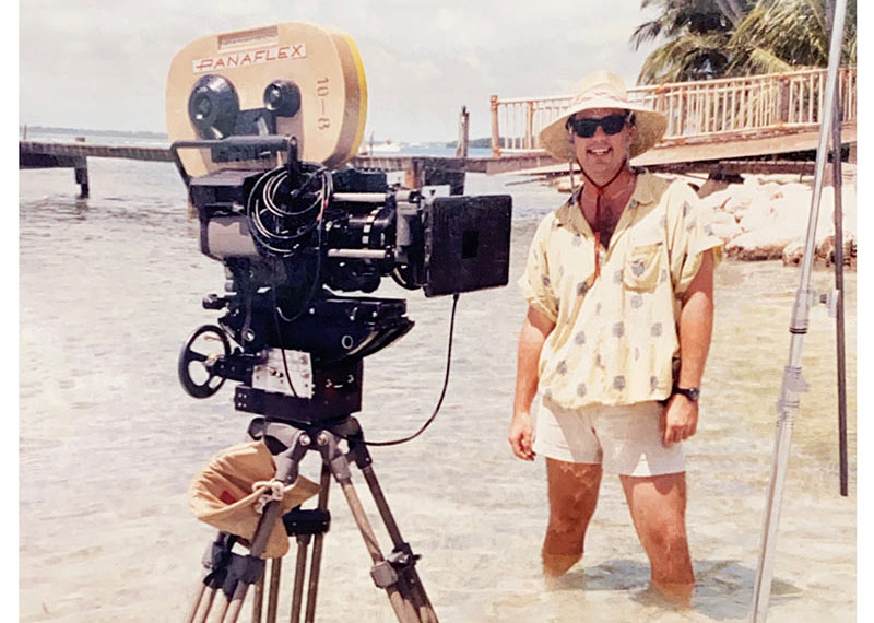 David Wells shooting film at the beach